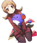 1girl alternate_costume bangs between_legs black_legwear blush closed_mouth dutch_angle eyebrows eyebrows_visible_through_hair gen_2_pokemon gensi hand_between_legs kotone_(pokemon) light_brown_eyes light_brown_hair long_hair long_sleeves looking_at_viewer marill pantyhose parted_bangs pokemon pokemon_(creature) pokemon_(game) pokemon_hgss red_sweater ribbed_sweater simple_background sitting sleeves_past_wrists smile solo sweater turtleneck turtleneck_sweater twintails v_arms wariza white_background