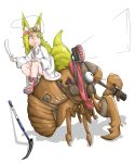 1girl absurdres animal animal_ears blonde_hair bug cicada closed_mouth clothed_animal doitsuken dress drinking fox_ears fox_tail from_side gloves headband headlight highres holding ice_pick insect long_hair monster_energy mouth_hold original oversized_animal pouch scissors shoes sitting smile socks solo tail white_dress