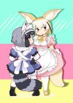 2girls adapted_costume alternate_costume animal_ears back_bow black_hair blonde_hair blush bow bowtie commentary_request common_raccoon_(kemono_friends) dress elbow_gloves enmaided eyebrows_visible_through_hair fennec_(kemono_friends) fox_ears fox_tail full_body fur_collar fur_trim gloves grey_hair hands_on_hips highres kemono_friends maid maid_headdress multicolored_hair multiple_girls pantyhose puffy_short_sleeves puffy_sleeves raccoon_ears raccoon_tail shima_noji_(dash_plus) short_hair short_sleeves tail