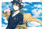 1girl :c androgynous aqua_eyes aqua_jacket beige_coat black_hat closed_mouth clouds coat collared_shirt commentary_request expressionless flower fur_hat goggles goggles_on_headwear hair_between_eyes hat holding holding_flower jacket kanasiinezimakineko kino kino_no_tabi long_sleeves looking_at_viewer orange_flower partial_commentary petals shirt shirt_under_jacket short_hair solo upper_body white_border white_shirt wind