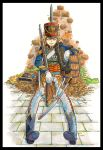 1girl against_wall antique_firearm barrel belt black_footwear blonde_hair blue_jacket boots elbow_rest epaulettes facial_scar firearm firelock flintlock fur_trim gloves gun hat highres hussar jacket marker_(medium) medal military military_uniform millipen_(medium) musket nagato_mikasa original pants pelisse saber_(weapon) sanpaku scar scar_on_cheek shako_cap sheath sheathed short_hair shoulder_strap sitting sling solo sword traditional_media uniform weapon white_gloves white_pants yellow_eyes
