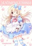 1girl :x ;d alice_(wonderland) alice_in_wonderland apron black_hat blonde_hair blue_bow blue_dress blue_hairband bow bowtie curtsey dress flower hair_bow hairband hat horizontal-striped_legwear light_blue_dress long_hair long_sleeves looking_at_viewer nanase_miori one_eye_closed open_mouth petals pink_bow pink_flower pink_neckwear pink_petals polka_dot polka_dot_background puffy_sleeves rabbit red_eyes smile solo striped striped_legwear thigh-highs top_hat white_apron white_background white_rabbit
