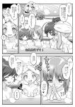 +++ 4girls akiyama_yukari alternate_hairstyle bath bathing blush blush_stickers breasts cleavage clenched_hands comic eyebrows_visible_through_hair girls_und_panzer greyscale hair_up hands_together interlocked_fingers isuzu_hana looking_at_another medium_breasts monochrome motion_blur motion_lines multiple_girls nishizumi_miho nude open_mouth ouma_bunshichirou short_hair smile sparkle steam submerged sweat takebe_saori towel towel_on_head translation_request