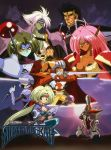 3girls 5boys 90s adeu_warsam armor black_eyes black_hair blue_legwear breasts cape chest_scar cleavage copyright_name dark_skin face_mask facial_scar fighting_stance gloves green_hair green_skin haou_taikei_ryuu_knight hat headband helmet highres holding holding_staff holding_sword holding_weapon jacket kunai large_breasts long_hair looking_at_viewer mask mecha multiple_boys multiple_girls official_art open_clothes open_jacket paffy_pafuricia pauldrons pink_hair pointy_ears ponytail red_eyes red_sclera scar smile squatting staff sunrise sword thigh-highs third_eye very_long_hair weapon white_gloves white_hair yellow_eyes zephyr