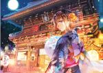 1girl architecture brown_hair east_asian_architecture flower folded_ponytail full_moon hair_flower hair_ornament japanese_clothes kimono lantern long_sleeves moon night night_sky obi original outdoors paper_lantern rioka_(southern_blue_sky) sash shrine sky smile solo violet_eyes