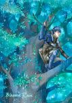 1boy blue_eyes blue_hair bow_(weapon) canopy elbow_gloves fire_emblem fire_emblem_echoes:_mou_hitori_no_eiyuuou fire_emblem_gaiden gloves holding holding_bow_(weapon) holding_weapon paison rain solo squatting tamami_if tree water_drop weapon
