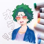 1boy artist_name blue_jacket boku_no_hero_academia commentary creamsherry eyewear_on_head facial_hair goatee green_hair jacket marker_(medium) midoriya_izuku open_mouth photo purple_shirt shirt short_hair simple_background solo sunglasses traditional_media white_background
