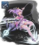 1girl 5555_96 anchor azur_lane blue_eyes chains commentary_request crown eyebrows_visible_through_hair eyes_visible_through_hair hair_ribbon highres javelin_(azur_lane) lance long_hair looking_at_viewer mini_crown open_mouth polearm ponytail purple_hair ribbon sailor_collar skirt solo thigh-highs weapon