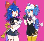 2girls :d ahoge backpack bag bag_charm bangs bili_girl_22 bili_girl_33 bilibili_douga black_shirt black_skirt blue_hair blush bow bowtie breasts camcorder charm_(object) cleavage eyebrows_visible_through_hair gloves hair_between_eyes hair_bobbles hair_bow hair_ornament head_tilt holding looking_at_viewer multiple_girls one_side_up open_mouth parted_lips pink_background pleated_skirt prophet_chu puffy_short_sleeves puffy_sleeves red_bow red_eyes red_neckwear shirt short_sleeves simple_background skirt small_breasts smile thigh-highs white_gloves white_shirt white_wings wings yellow_legwear