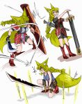 1girl :d absurdres animal_ears arrow blonde_hair boots braid doitsuken fang faulds fox_ears fox_tail hair_between_eyes hair_over_one_eye hands_on_hilt highres holding holding_shield holding_weapon knee_boots long_hair multiple_views one_eye_covered one_knee open_mouth original parted_lips red_eyes scabbard scimitar sheath shield single_braid smile sword tail two-handed weapon