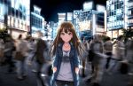 1girl analog_clock artist_request bangs billboard black_pants blue_eyes brown_hair city clock closed_mouth collarbone crowd denim denim_jacket dot_nose earrings eyebrows_visible_through_hair glowing hands_in_pockets highres idolmaster idolmaster_cinderella_girls idolmaster_cinderella_girls_starlight_stage jeans jewelry light_smile lights lips long_hair long_sleeves looking_at_viewer motion_blur necklace night night_sky official_art outdoors pants parted_bangs pocket print_shirt shibuya_rin shirt sky sleeves_rolled_up solo_focus stage_of_magic standing star star_earrings stud_earrings thigh_gap tree unbuttoned white_shirt window wing_collar zipper