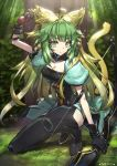 1girl animal_ears arm_up armlet arrow atalanta_(fate) bangs black_footwear black_gloves boots bow_(weapon) breasts cat_ears cat_tail cleavage collarbone day eyebrows_visible_through_hair fate/apocrypha fate_(series) forest gloves gradient_hair green_eyes green_hair hair_between_eyes highres holding holding_arrow holding_bow_(weapon) holding_weapon medium_breasts multicolored_hair nature one_knee outdoors short_sleeves solo tail tansan_daisuki thigh-highs thigh_boots weapon