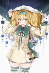 1girl backpack bag bag_charm binoculars blonde_hair blue_eyes blue_hairband charm_(object) cowboy_shot dress escort_water_hime gambier_bay_(kantai_collection) hair_between_eyes hairband highres holding_map kantai_collection looking_at_viewer lost_child map_(object) open_mouth rain sailor_dress solo thigh-highs twintails yunamaro
