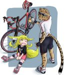 >_o 1girl absurdres animal_ears bicycle bike_shorts black_shirt blonde_hair brown_eyes cheetah cup doitsuken fang fingerless_gloves fox_child_(doitsuken) fox_ears fox_tail from_behind gloves grey_background ground_vehicle highres holding holding_cup knee_pads on_ground one_eye_closed open_mouth original pedal pink_footwear pink_shorts shirt short_sleeves shorts skates sweatdrop tail wheel white_footwear white_shirt yellow_eyes yellow_sclera