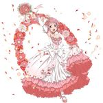 1girl :d ankle_ribbon arm_up armpits bouquet breasts cleavage collarbone detached_sleeves dress flower full_body hair_flower hair_ornament holding holding_bouquet layered_dress lisbeth long_dress looking_at_viewer medium_breasts one_leg_raised open_mouth orange_flower petals pink_eyes pink_flower pink_footwear pink_hair pink_ribbon pumps red_flower ribbon short_hair_with_long_locks sidelocks simple_background skirt_hold sleeveless sleeveless_dress smile solo standing standing_on_one_leg strapless strapless_dress sword_art_online wedding_dress white_background white_dress white_legwear