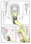 1girl absurdres animal_ears barefoot blonde_hair comic crying doitsuken flower flower_pot fox_ears fox_tail from_behind from_side highres kneeling low_ponytail original profile speech_bubble tail tears