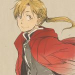 1boy alphonse_elric black_shirt blonde_hair coat conqueror_of_shambala eyebrows_visible_through_hair floating_hair fullmetal_alchemist grey_background happy long_hair looking_away male_focus ponytail red_coat shirt simple_background smile tame upper_body yellow_eyes
