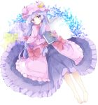1girl bangs barefoot blush book bow closed_mouth commentary crescent dress hair_bow hat highres holding holding_book long_hair long_sleeves looking_at_viewer lying mob_cap on_back patchouli_knowledge pillow pink_capelet pink_dress pink_hat purple_bow purple_dress purple_hair red_bow revision sleeves_past_wrists solo star star_pillow symbol_commentary touhou tsukiyo_(skymint) very_long_hair violet_eyes white_background