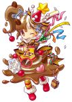 1girl absurdres bangs boots brown_eyes brown_hair candy candy_cane coffee coffee_beans confetti food full_body hair_ornament hat heart highres liquid liquid_clothes long_hair mascot milcrown_yukico-tan mismatched_legwear multicolored_hair official_art one_eye_closed ornament party_hat party_popper ponytail red_footwear side_ponytail smile snowflake_hair_ornament snowflakes solo symbol-shaped_pupils transparent_background two-tone_hair umiheki white_hair yukico-tan yukijirushi