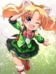 1girl ;d animal_ears blonde_hair bow brooch cat_ears cat_tail commentary dress earrings fang green_dress hairband highres jewelpet_(series) jewelpet_twinkle jewelry miria_marigold_mackenzie nyama one_eye_closed open_mouth outstretched_arm red_bow red_hairband salute smile solo tail twintails white_footwear