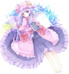 1girl bangs barefoot blush book bow closed_mouth commentary crescent dress hair_bow hat highres holding holding_book long_hair long_sleeves looking_at_viewer lying mob_cap on_back patchouli_knowledge pillow pink_capelet pink_dress pink_hat purple_bow purple_dress purple_hair red_bow sleeves_past_wrists solo star star_pillow symbol_commentary touhou tsukiyo_(skymint) very_long_hair violet_eyes white_background