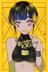 1girl arm_at_side bare_shoulders black_hair blonde_hair blue_hair breasts candy commentary crop_top earrings facial_mark fingernails food food_in_mouth green_eyes green_hair grey_nails hand_up highres holding holding_food jewelry lollipop medium_breasts multicolored multicolored_eyes multicolored_hair nail_polish original parted_lips ram_(ramlabo) sharp_teeth short_hair sleeveless solo symbol-shaped_pupils teeth upper_body violet_eyes
