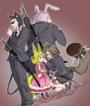 2boys 2girls animal_ears black_jacket black_legwear black_pants blonde_hair blush bodyguard brown_footwear brown_hair cat_ears cat_tail child closed_eyes closed_mouth doitsuken dutch_angle fox_ears fox_tail hair_ribbon high_heels highres jacket katana microphone multiple_boys multiple_girls original own_hands_together pants pantyhose pencil_skirt pink_ribbon pink_skirt rabbit_ears raccoon_ears raccoon_tail rapier red_eyes red_footwear revision ribbon scabbard scar scar_across_eye sheath short_hair skirt smile spikes squatting sunglasses sword tail vest weapon weapon_on_back