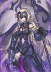 1girl armor armored_dress black_armor black_dress black_gloves breasts chains dress dual_wielding eyebrows_visible_through_hair fate/grand_order fate_(series) faulds flag fur_trim gauntlets gloves greaves headpiece jeanne_d'arc_(alter)_(fate) jeanne_d'arc_(fate)_(all) long_hair navel_cutout polearm purutoppu_(toranohige) silver_hair smile solo sword very_long_hair weapon yellow_eyes