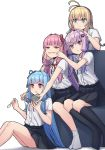 4girls :t ahoge amekaze_yukinatsu antenna_hair aqua_eyes bangs black_legwear blonde_hair blue_hair blue_ribbon cheek_pinching commentary_request couch dress_shirt eating food hair_intakes hair_ribbon hairband hand_on_another's_head highres holding holding_spoon ice_cream kneehighs knees_up kotonoha_akane kotonoha_aoi long_hair looking_at_viewer multiple_girls neck_ribbon open_mouth pinching pink_eyes pink_hair pleated_skirt purple_hair red_ribbon ribbon shirt short_sleeves siblings sidelocks sisters sitting skirt smile socks spoon tsurumaki_maki twins very_long_hair violet_eyes vocaloid voiceroid white_background white_legwear white_shirt yuzuki_yukari