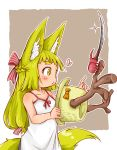 1girl :3 absurdres animal_ears antlers bare_arms bare_shoulders beetle blade blonde_hair bow braid bug commentary doitsuken dress fox_child_(doitsuken) fox_ears fox_tail french_braid grey_background heart highres insect long_hair low-tied_long_hair orange_bow original revision rhinoceros_beetle rhinoceros_ears simple_background solo sparkle tail white_dress yellow_eyes