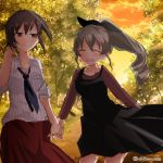 2girls alternate_hairstyle anchovy bangs black_dress black_neckwear brown_eyes brown_hair brown_shirt brown_skirt casual chikomayo closed_eyes closed_mouth clouds cloudy_sky collared_shirt commentary_request couple dress girls_und_panzer green_hair hair_ribbon hand_holding hand_in_hair long_hair long_skirt long_sleeves looking_at_another loose_necktie medium_dress multiple_girls necktie nishizumi_maho open_mouth outdoors path ponytail ribbon road shirt short_hair single_drill skirt sky sleeves_rolled_up smile standing striped striped_shirt tree twilight twitter_username vertical-striped_shirt vertical_stripes white_shirt yuri