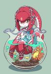 1girl anklet blue_background bracelet breasts chibi closed_mouth commentary_request coral fins fish fish_girl fishbowl full_body gem green_background hair_ornament highres jewelry knees_up long_hair looking_at_viewer mipha monster_girl multicolored multicolored_skin nazonazo_(nazonazot) necklace no_eyebrows partially_submerged plant red_skin redhead simple_background small_breasts smile the_legend_of_zelda the_legend_of_zelda:_breath_of_the_wild water yellow_eyes zora
