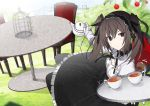 1girl birdcage black_bow black_dress black_hairband black_legwear bow brown_eyes brown_hair cage chair cup dog_tail dress gloves hairband holding_teapot long_hair on_chair original sitting solo table tail tea teacup teapot twintails vane white_gloves