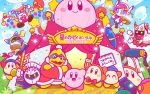 2girls 5boys arm_up bandana_waddle_dee bandanna bangs blue_cape blue_eyes blue_sky blunt_bangs blush_stickers bob_cut bow bowtie cape car clouds commentary_request confetti fangs flying galaxia_(sword) ground_vehicle hat horns jester_cap jumping king_dedede kirby kirby_(series) looking_at_viewer magolor marx mask meta_knight microphone motor_vehicle multiple_boys multiple_girls no_mouth official_art polearm recording red_neckwear red_robe robe sky spear star susie_(kirby) taranza tent throwing translated waddle_dee weapon white_hair wings
