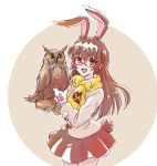 1girl :d animal_ears bangs bird bird_on_hand blush brown_eyes brown_hair brown_skirt bunny_tail cowboy_shot eyebrows_visible_through_hair gloves hair_between_eyes highres iesupa long_hair looking_at_viewer miniskirt open_mouth owl pleated_skirt rabbit_ears red-framed_eyewear rwby semi-rimless_eyewear simple_background skirt smile solo standing tail under-rim_eyewear velvet_scarlatina very_long_hair white_background white_gloves winter_clothes yellow_neckwear