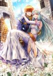 1boy 1girl bare_shoulders blue_eyes blue_hair bouquet bridal_veil bride cape carrying dress elbow_gloves eliwood_(fire_emblem) fire_emblem fire_emblem:_rekka_no_ken fire_emblem_heroes flower formal gloves hair_flower hair_ornament jewelry long_hair mamkute necklace ninian princess_carry redhead short_hair smile strapless strapless_dress suit tiara tuxedo veil wanini wedding wedding_dress white_dress white_gloves