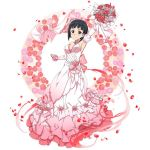 1girl arm_up armpits black_eyes black_hair blush bouquet breasts choker cleavage collarbone detached_sleeves dress flower full_body hair_flower hair_ornament holding holding_bouquet kirigaya_suguha long_dress looking_at_viewer medium_breasts petals pink_dress pink_flower pink_rose red_flower red_rose rose short_hair sideboob simple_background sleeveless sleeveless_dress smile solo standing strapless strapless_dress sword_art_online wedding_dress white_background