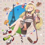 1girl balloon belt beret blonde_hair blue_eyes bottle breasts chocolates commentary crepe cup dress eclair_(food) eiffel_tower food gloves hachi_(hachi_hatch) hair_between_eyes hat kantai_collection long_hair macaron mole mole_under_eye mole_under_mouth multicolored multicolored_clothes multicolored_dress multicolored_gloves multicolored_legwear multicolored_scarf pom_pom_(clothes) richelieu_(kantai_collection) rudder_shoes scarf sitting solo strapless strapless_dress teacup wine_bottle