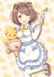 1girl ;d apron batter blue_bow blush bow breasts brown_footwear brown_hair draph eyebrows_visible_through_hair granblue_fantasy hairband heart holding leg_up long_sleeves looking_at_viewer medium_breasts mixing_bowl one_eye_closed open_mouth poru_(naasan) silhouette smile solo standing striped striped_background stuffed_animal stuffed_toy sweat_bangs teddy_bear vertical-striped_background vertical_stripes white_apron white_legwear yaia_(granblue_fantasy) yellow_bow
