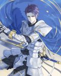 1boy armor arondight blue_cape cape fate/grand_order fate_(series) holding holding_sword holding_weapon knight lancelot_(fate/grand_order) looking_away male_focus purple_hair solo sword violet_eyes weapon white_armor yepnean