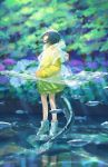 1girl blue_hair fish hiko_(scape) looking_up mutant original plant raincoat river shoes sneakers stone tail