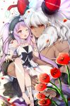 1boy 1girl :< ;d absurdres anklet asterios_(fate/grand_order) bangs bare_shoulders black_bow black_hairband black_sclera blurry blurry_foreground blush bow bracelet breasts closed_mouth commentary_request dark_skin depth_of_field dress earrings euryale eyebrows_visible_through_hair fate/grand_order fate/hollow_ataraxia fate_(series) flower frilled_hairband hairband highres hoop_earrings horns jewelry ko_yu long_hair one_eye_closed open_mouth parted_bangs petals pixiv_fate/grand_order_contest_2 purple_hair red_eyes red_flower rose scar shirtless silver_hair simple_background sitting_on_arm sleeveless sleeveless_dress small_breasts smile toenails twintails very_long_hair white_background white_dress white_flower white_rose