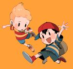 >:d 2boys backpack bag baseball_cap black_eyes black_hair blonde_hair blush_stickers clenched_hand full_body glasses_enthusiast hat highres horizontal-striped_shirt horizontal_stripes lucas male_focus mother_(game) mother_2 mother_3 multiple_boys ness orange_background quiff red_legwear shirt shorts simple_background socks striped striped_shirt white_legwear