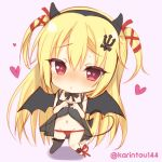1girl aotsu_karin arihara_nanami asymmetrical_legwear babydoll bangs bare_arms bare_shoulders black_babydoll black_bow black_hairband black_legwear black_wings blonde_hair blush bow chibi demon_girl demon_tail demon_wings eyebrows_visible_through_hair fake_horns hair_between_eyes hair_ornament hair_ribbon hairband hands_up heart heart-shaped_pupils heart_hands heart_tail long_hair looking_at_viewer navel nose_blush pink_background red_eyes red_ribbon ribbon riddle_joker simple_background single_thighhigh solo standing succubus symbol-shaped_pupils tail thigh-highs twitter_username two_side_up underwear underwear_only very_long_hair wings