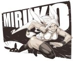1girl animal_ears archvermin background_text black_legwear boku_no_hero_academia breasts bunny_symbol dark_skin highres long_hair looking_at_viewer miruko_(boku_no_hero_academia) monochrome muscle muscular_female rabbit_ears red_eyes running smile teeth thigh-highs thighs very_long_hair wristband