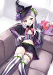 1girl bangs black_capelet black_gloves black_headwear black_skirt blunt_bangs blush capelet commentary couch cowboy_shot crop_top cup drinking_glass gloves hair_bun hat holding holding_cup hololive indoors juice long_hair long_sleeves looking_at_viewer lowleg_skirt lying midriff miniskirt murasaki_shion navel on_back open_mouth pensuke shirt silver_hair skirt smile solo striped striped_legwear striped_shirt thigh-highs vertical-striped_legwear vertical_stripes virtual_youtuber wine_glass witch_hat yellow_eyes zettai_ryouiki