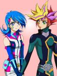 1boy 1girl belt blue_girl blue_hair bodysuit commentary_request earrings facial_tattoo fingerless_gloves fujiki_yuusaku gloves hair_ornament hairclip heart heart_earrings jewelry multicolored_hair playmaker shorts sleeveless spiky_hair tattoo user_rdtj3758_aria yu-gi-oh! yuu-gi-ou_vrains zaizen_aoi zipper