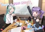 2girls ;d aqua_hair arm_up artist_request bang_dream! bangs black_bow black_collar black_neckwear black_shirt bow chair collar computer cup drinking_glass green_eyes hair_bow hairband hikawa_sayo holding holding_paper laptop long_sleeves microphone mixing_console multiple_girls official_art one_eye_closed open_mouth paper papers pen pop_filter print_shirt purple_hair radio_booth recording_studio red_eyes shirt shoulder_cutout sidelocks sitting smile studio_microphone sweatdrop table twintails udagawa_ako upper_body v-shaped_eyebrows white_shirt window