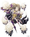 1girl absurdres barefoot blonde_hair briar_rose_(sinoalice) closed_eyes doll extra_arms eyebrows_visible_through_hair flower frills full_body habit hands_on_own_chest highres ji_no official_art puffy_sleeves rose sinoalice solo staff thorns white_background white_flower white_rose