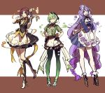 3girls apron breasts character_request cleavage green_hair high_heels macross macross_delta maid_apron multiple_girls purple_hair redhead shimatani_azu waitress